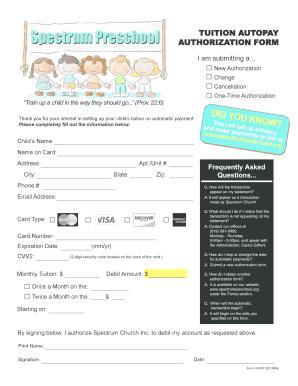 Fillable Online Autopay Form - Spectrum Preschool Fax Email Print