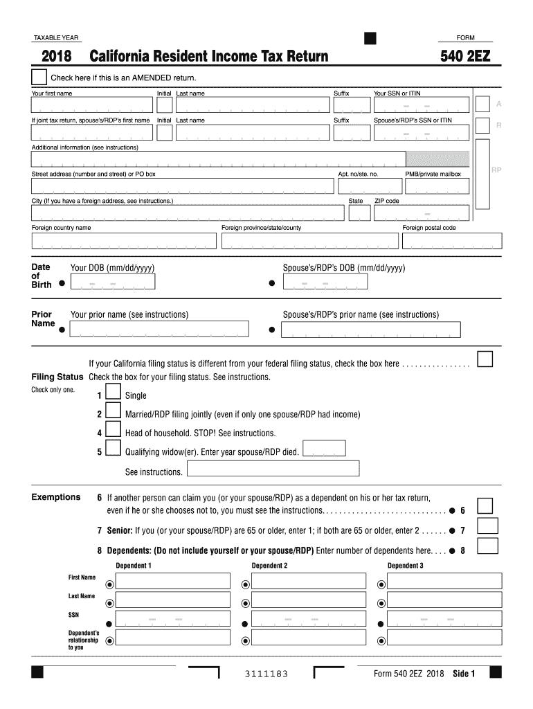 2018 Form CA FTB 540 2EZ Fill Online, Printable, Fillable