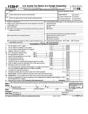 2018 Form IRS 1120-F Fill Online, Printable, Fillable, Blank