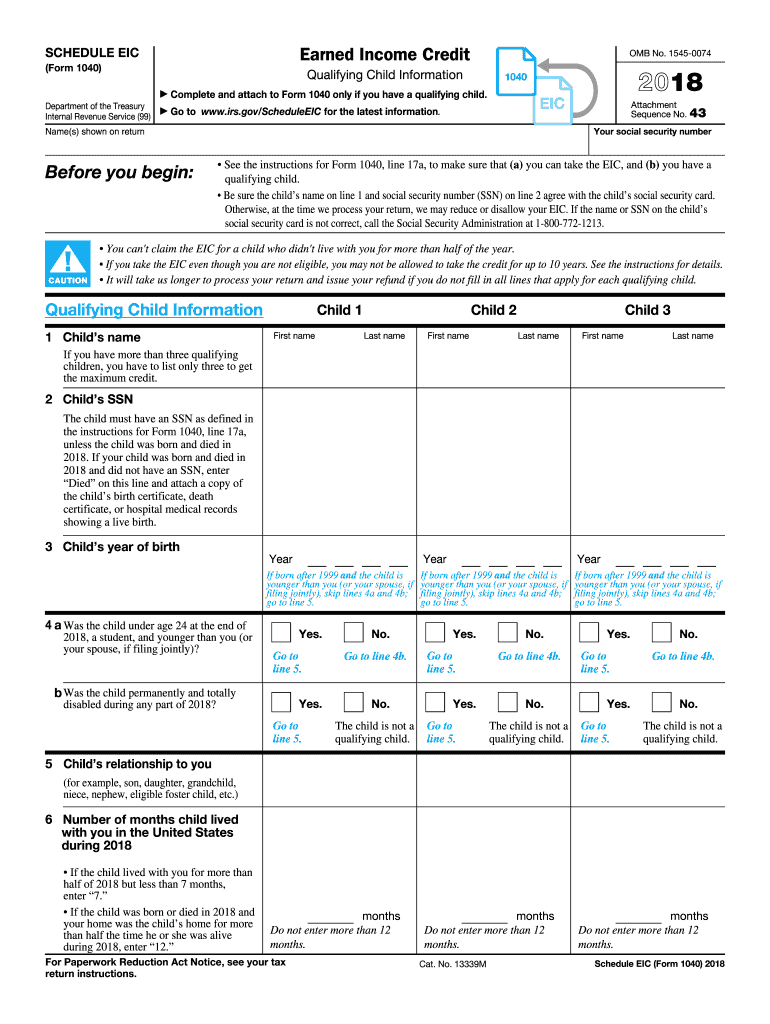 2018 Form IRS 1040 - Schedule EIC Fill Online, Printable ...