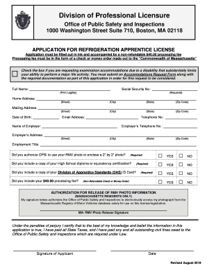 Ma Division Of Professional Licensure >> Fillable Online Application For Refrigeration Apprentice License