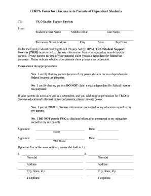 ferpa form for parents  Fillable Online FERPA Form for Disclosure to Parents of ...