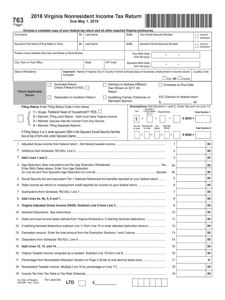 2018 Form VA DoT 763 Fill Online, Printable, Fillable, Blank