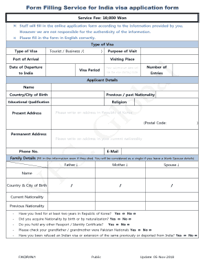 Fillable Online Form Filling Service For India Visa Application Form Vfs Global Fax Email Print Pdffiller