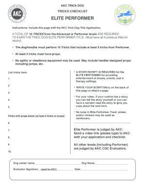 Fillable Online TRICKS CHECKLIST Fax Email Print - PDFfiller