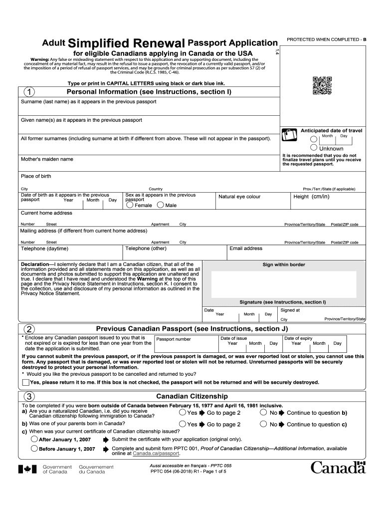 2018-2020 Form Canada PPTC 054 Fill Online, Printable ... on