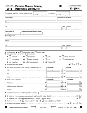 2018 Form CA Schedule K-1 (565) Fill Online, Printable, Fillable