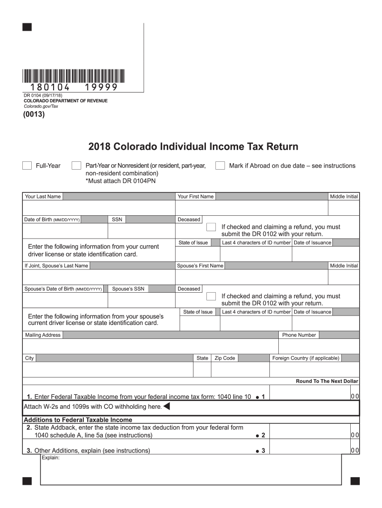 image about Printable Colorado Income Tax Form 104 known as 2018 Style CO DoR 104 Fill On the net, Printable, Fillable, Blank