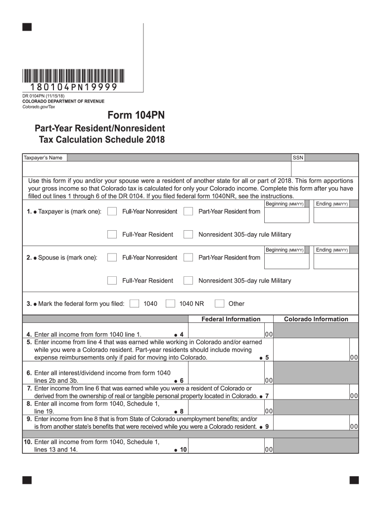 2018 Form CO DoR 104PN Fill Online, Printable, Fillable, Blank
