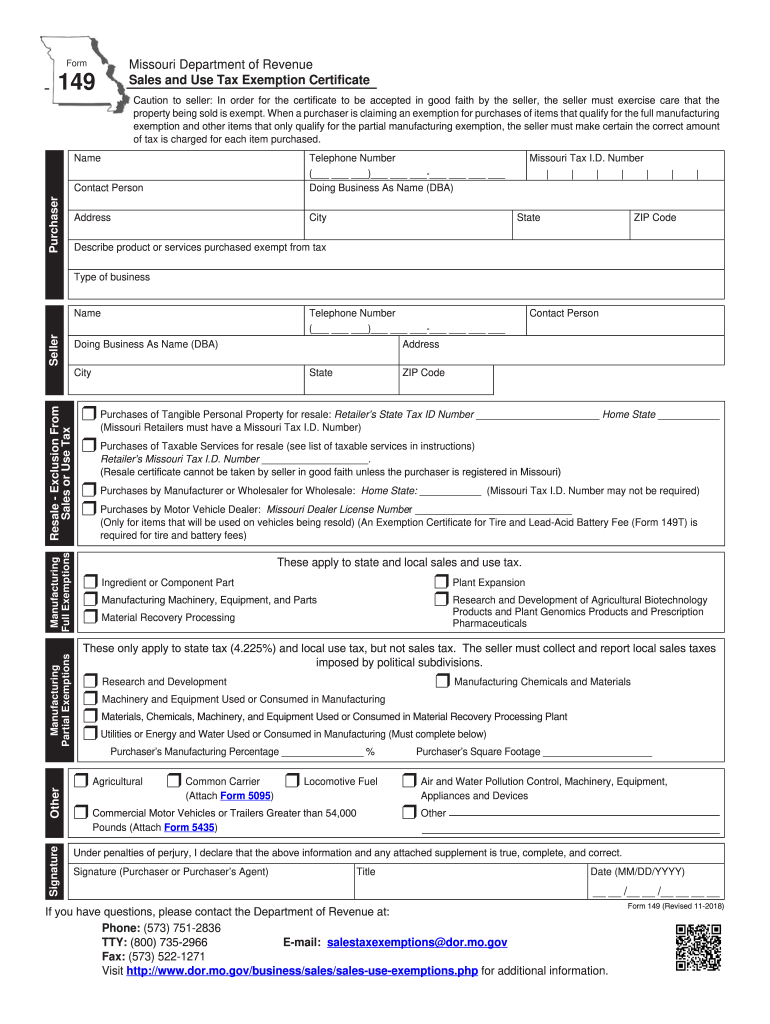 2018 Form MO DoR 149 Fill Online, Printable, Fillable, Blank