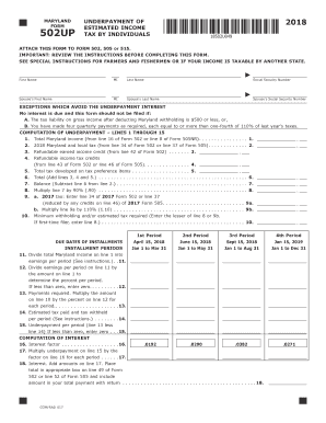 maryland and underpayment of estimated income tax by individuals 2018-2019  form