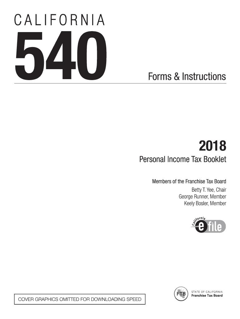 2018 Form Ca Ftb 540 540a Bk Fill Online Printable