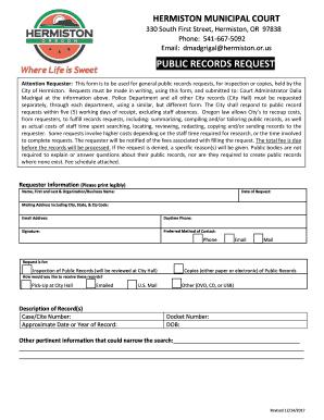 Fillable Online Hermiston Municipal Court Public Records