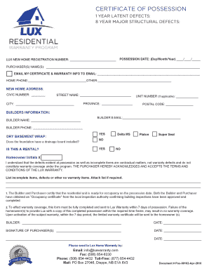 Fillable Online Certificate Of Possession Lux Home Warranty Fax Email Print Pdffiller