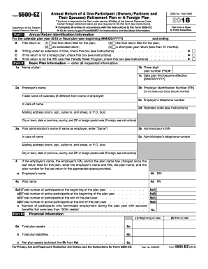 Editable IRS Form 5500-EZ for 2018 - 2019