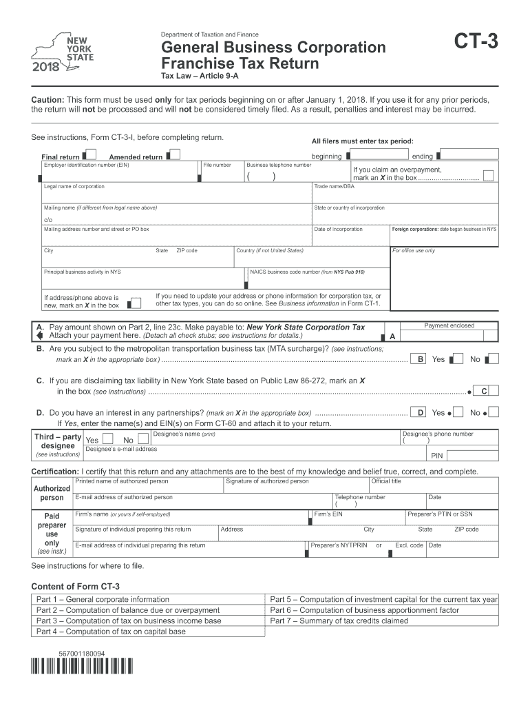 2018 Form NY DTF CT-3 Fill Online, Printable, Fillable