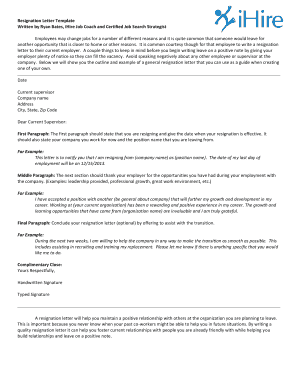 Fillable Online Resignation Letter Template Written by Ryan ...
