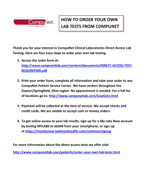 HOW TO ORDER YOUR OWN LAB TESTS FROM COMPUNET Fill Online