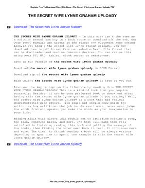 Fillable Online The Secret Wife Lynne Graham Uploady  The Secret