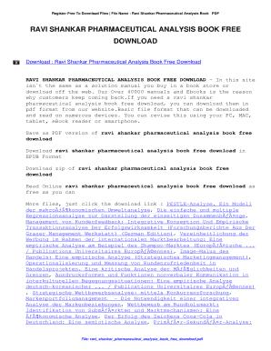 Fillable Online Ravi Shankar Pharmaceutical Analysis Book Free