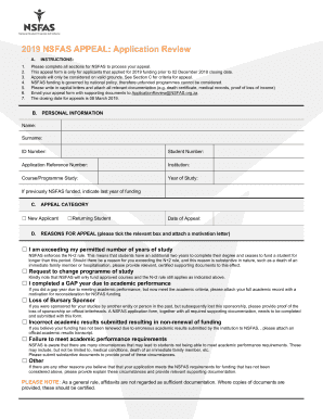 2019 ZA NSFAS Appeal Form Fill Online, Printable, Fillable, Blank