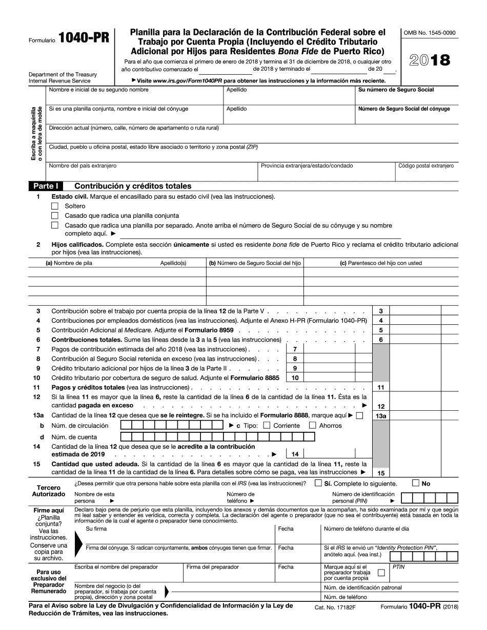 Electronic Irs Form 1040 Pr 2018 2019 Printable Pdf Sample