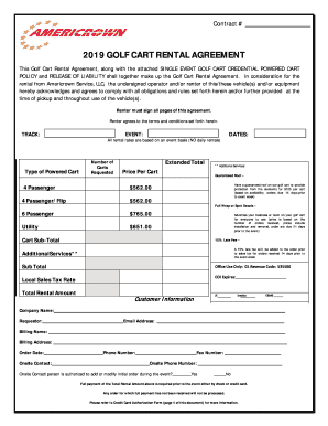 2019 Form Americrown Golf Cart Rental Agreement Fill Online