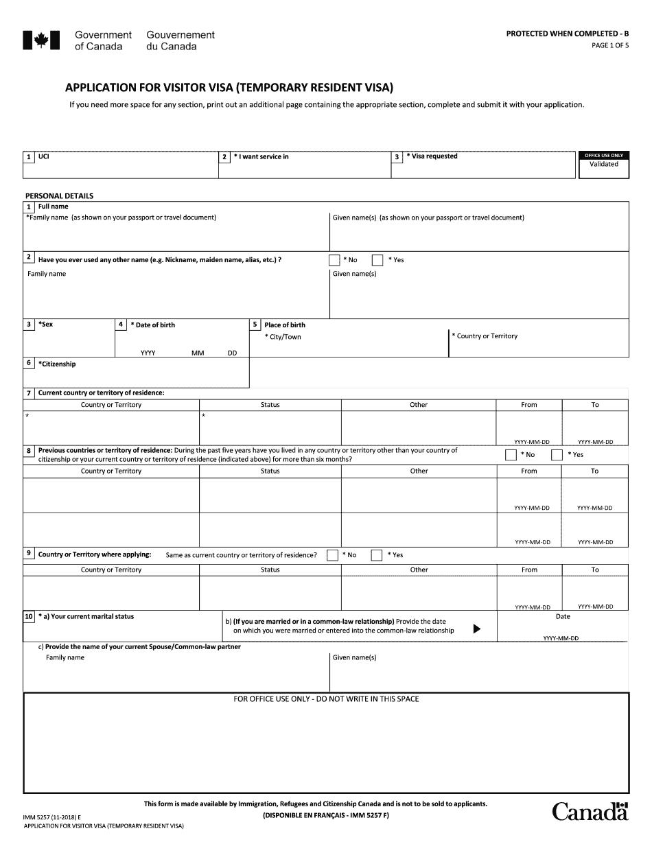 Form IMM 5257E