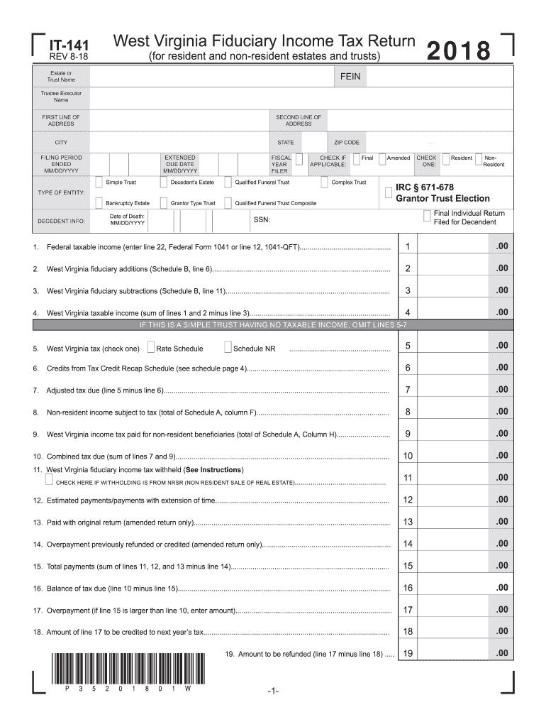 2018 Form WV DoR IT-141 Fill Online, Printable, Fillable, Blank