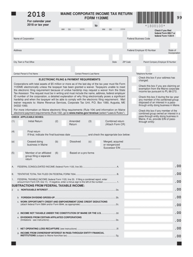 2018-2020 Form ME MRS 1120ME Fill Online, Printable ...