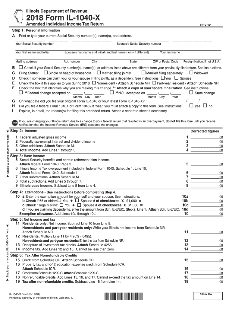 illinois estimated tax form for 2018
