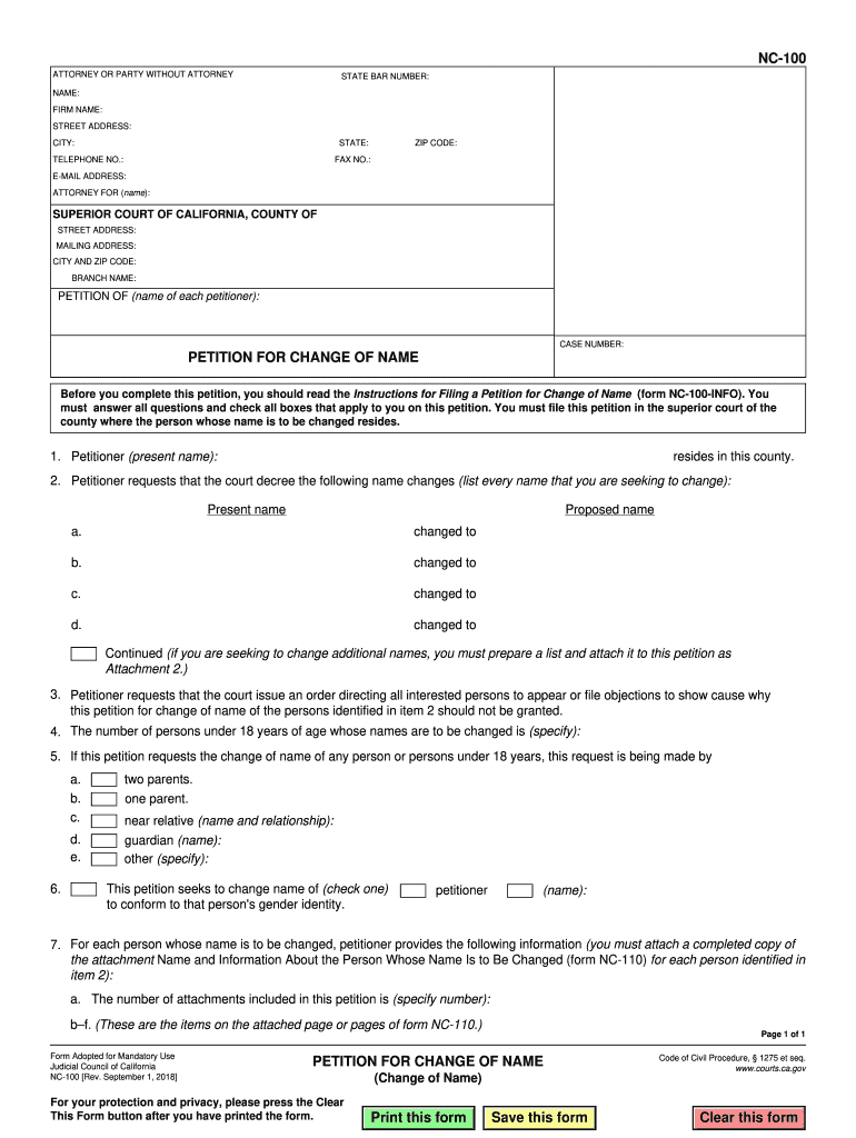 2018 Form CA NC-100 Fill Online, Printable, Fillable, Blank