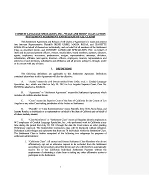 Editable california wage and hour settlement agreement
