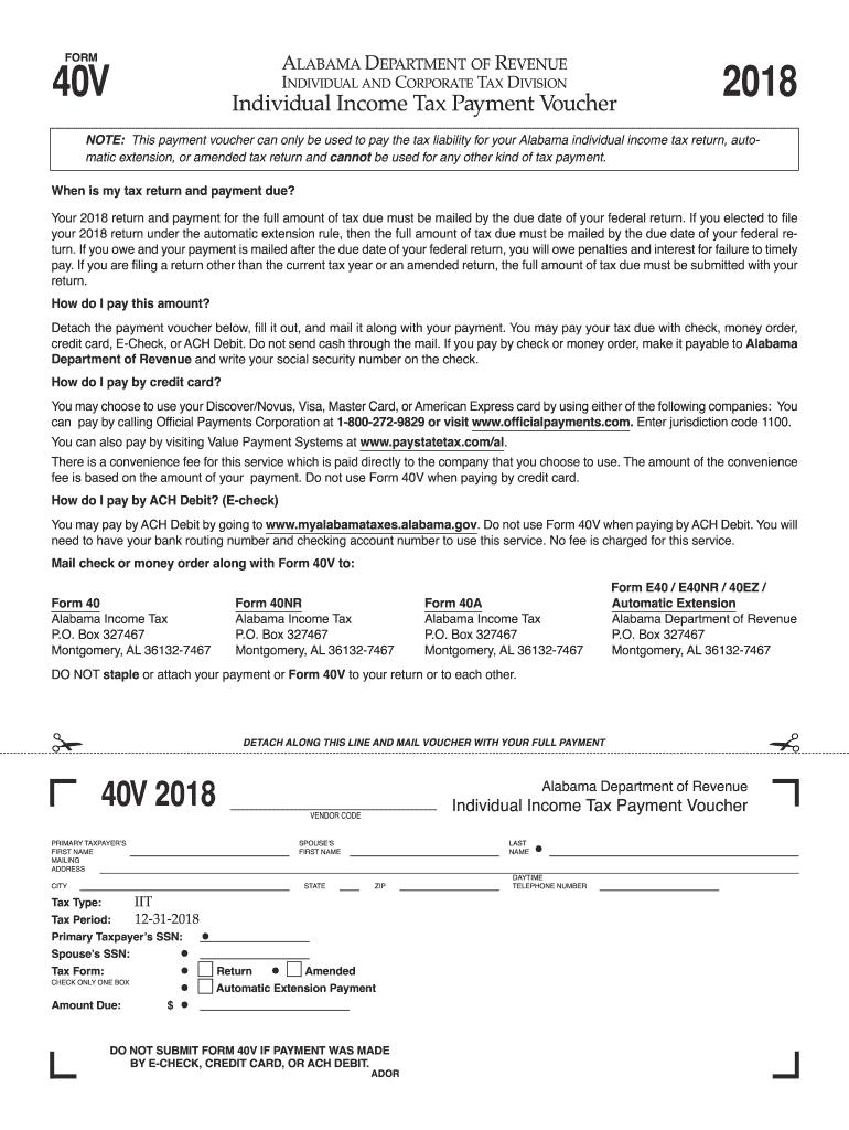 2018 Form AL DoR 40V Fill Online, Printable, Fillable, Blank - PDFfiller