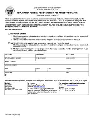 Fillable Online application for bmv reinstatement fee