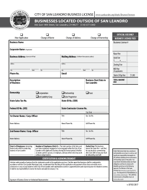 City Of San Leandro >> Fillable Online City Of San Leandro Business Licenses Fax