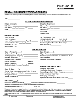 Fillable Online Dental Insurance Verification Form Dental