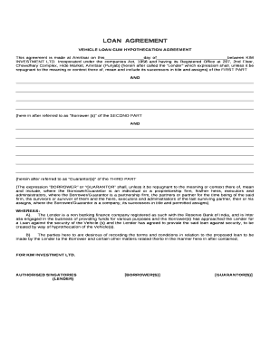Vehicle Loan Cum Hypothecation Agreement Doc Template
