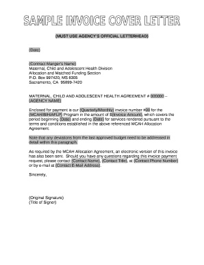 Fillable Online Sample Invoice Cover Letter in Word and Pdf ...