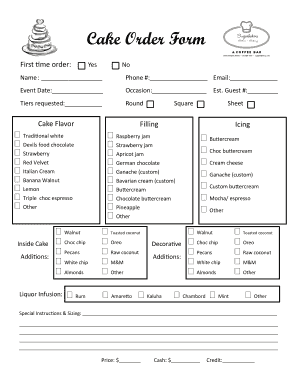 picture regarding Cake Order Forms Printable named Thorough Printable 10 Pattern Cake Invest in Styles Samples On the net