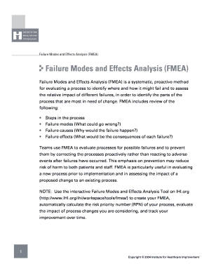 Fillable Online Failure Modes and Effects Analysis (FMEA) Tool