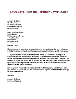 Entry Level Personal Trainer Cover Letter Doc Template | PDFfiller