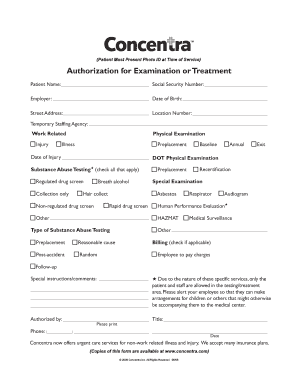 Fillable Online Employer Authorization Form - Concentra Fax Email