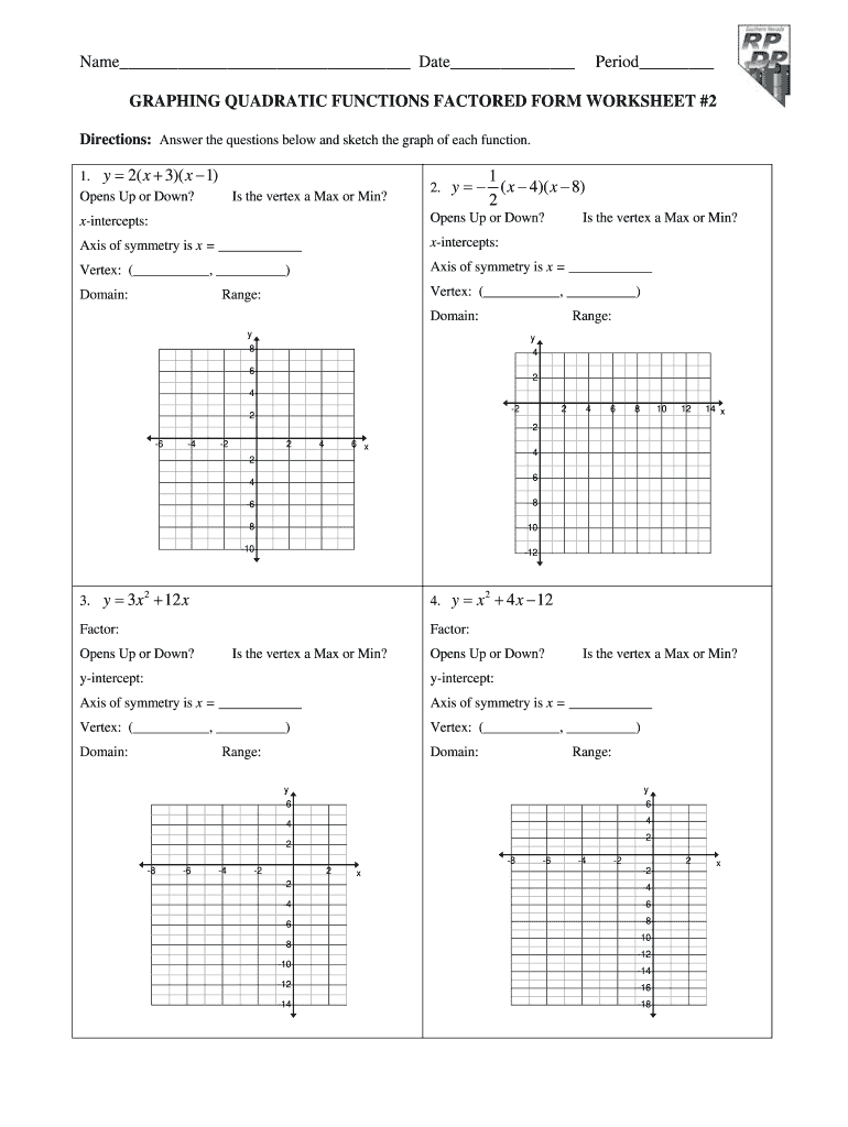 Graphing Quadratic Functions Factored Form Worksheet 2 ...