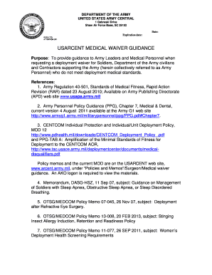 ARCENT MEDICAL WAIVER POLICY Fill Online, Printable, Fillable, Blank