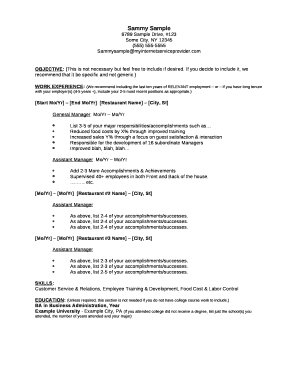 Sample Restaurant Manager Resume. Sample/Example Restaurant ...