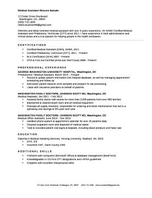 Medical Assistant Resume Sample Doc Template | PDFfiller