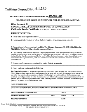 Fillable Online California Resale Certificate Form BOE #230 ...