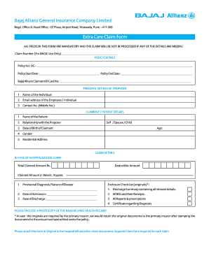 Fillable bajaj allianz ncb confirmation mail id Samples to ...