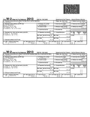 Fillable Online Form W-2Wage and Tax Statement 2013 OMB No ...